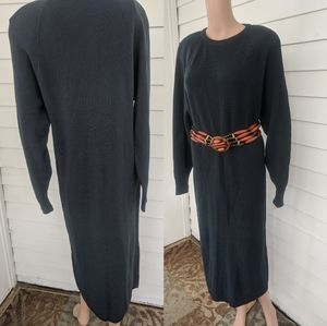 80s Merino Wool Sweater Dress Basic Gray Ambria M